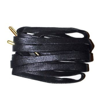 Black Waxed flat laces gold tip